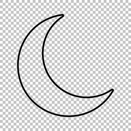 afterglow: Moon line vector icon on transparent background