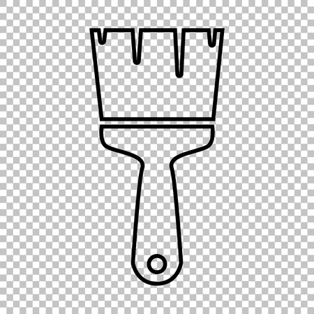 transparent brush: Brush line vector icon on transparent background