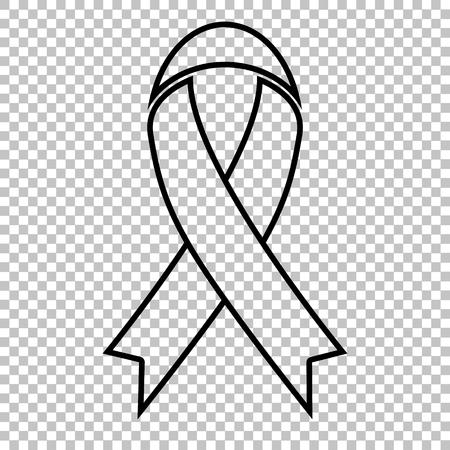 awareness ribbon: Black awareness ribbon line vector icon on transparent background