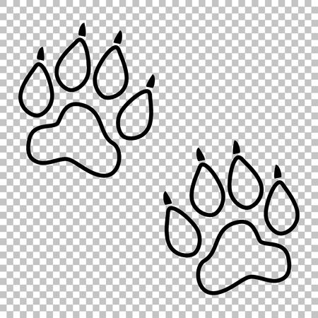 huellas de animales: El animal sigue icono de la l�nea del vector en el fondo transparente Vectores