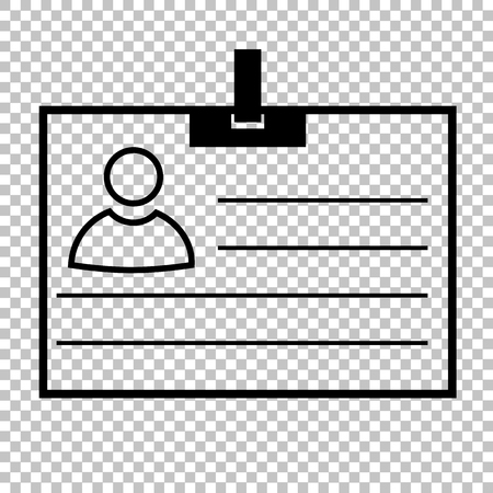 recognizing: Id card line vector icon on transparent background