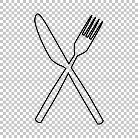 Fork and Knife line vector icon on transparent background Vettoriali