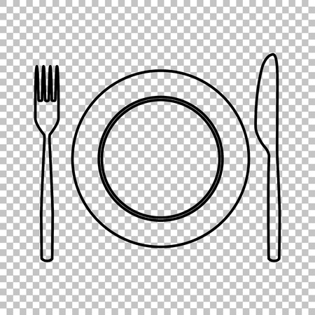 Fork and Knife line vector icon on transparent background Illustration