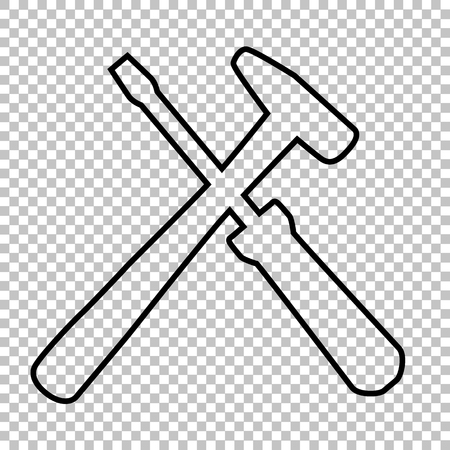 tuning turn screw: Tool line vector icon on transparent background Illustration
