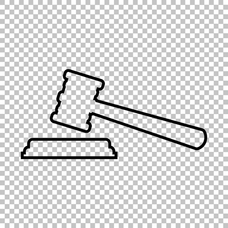 arbitrate: Justice hammer line vector icon on transparent background Illustration