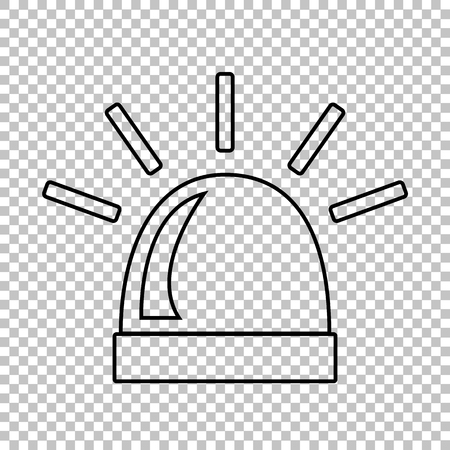 single line: Police single line vector icon on transparent background