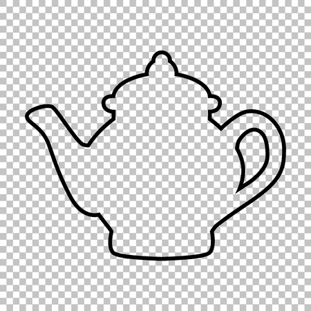 chinese tea pot: Tea maker line vector icon on transparent background Illustration
