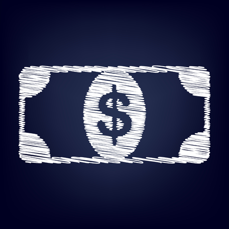 bank note: Bank Note dollar sign. Chalk effect on blue background