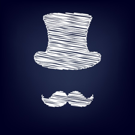 masculinity: Hipster style accessories design. Chalk effect on blue background