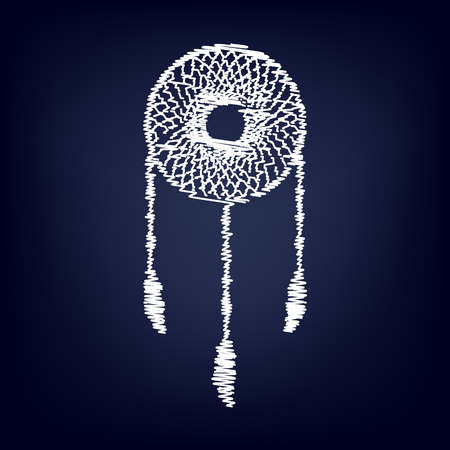 feathery: Dream catcher sign. Chalk effect on blue background
