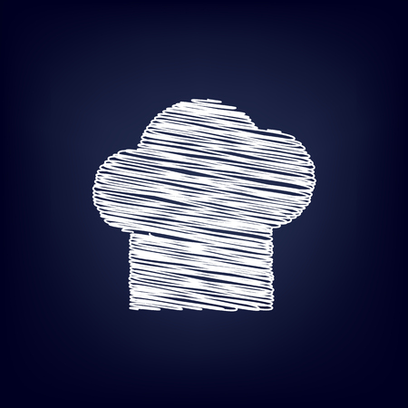 replaceable: Chef cap sign. Chalk effect on blue background