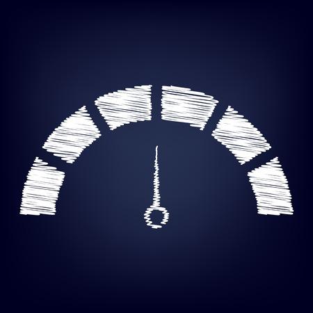warning indicator: Speedometer sign. Chalk effect on blue background Illustration