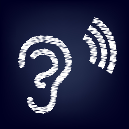 audible: Human ear sign. Chalk effect on blue background Illustration