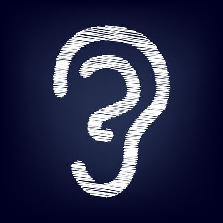 listener: Human ear sign. Chalk effect on blue background Illustration