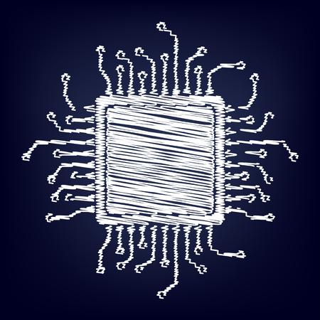 gpu: CPU Microprocesso. Chalk effect on blue background