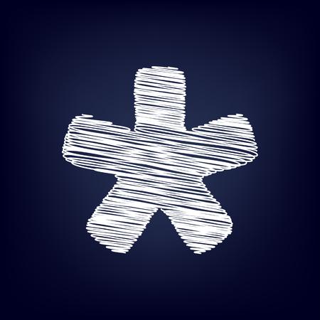 reference point: Asterisk star sign. Chalk effect on blue background Illustration