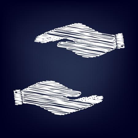 www arm: Hand sign. Chalk effect on blue background Illustration