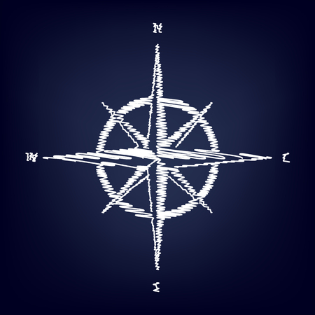 wind rose: Wind rose sign. Chalk effect on blue background Illustration