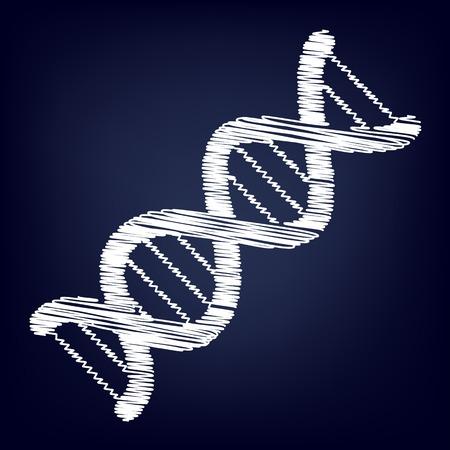 heredity: The dna sign. Chalk effect on blue background Illustration