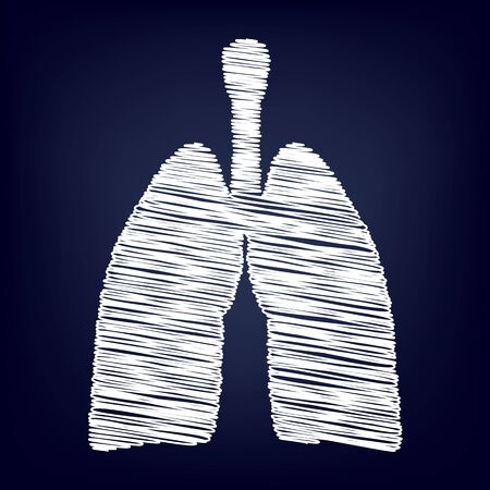 pulmones: Human organs. Lungs sign. Chalk effect on blue background