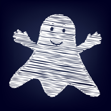 ghastly: Ghost isolated sign. Chalk effect on blue background Illustration