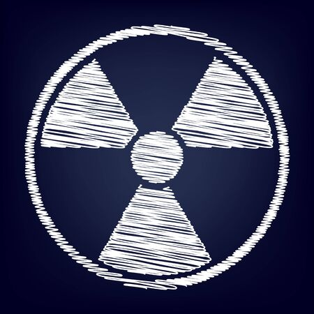 radiological: Radiation Round sign. Chalk effect on blue background