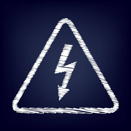 volte: High voltage danger sign. Chalk effect on blue background Illustration
