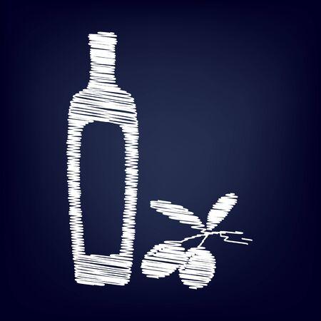 salad dressing: Black olives branch with olive oil bottle sign. Chalk effect on blue background