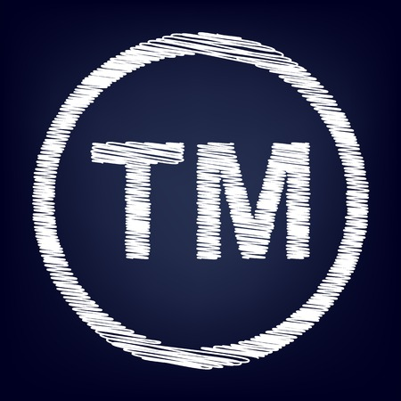 trade mark: Trade mark sign. Chalk effect on blue background