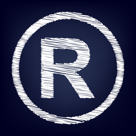 duplication: Registered Trademark sign. Chalk effect on blue background