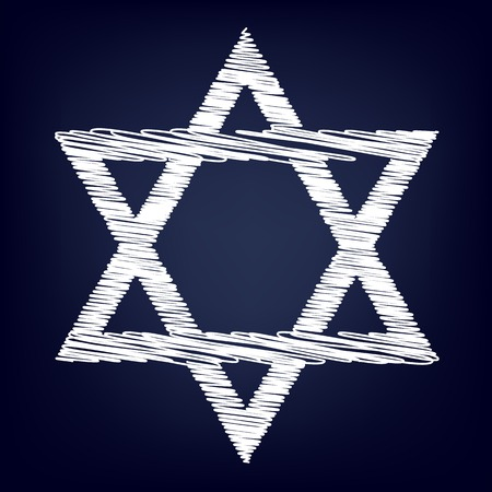 magen: Star. Shield Magen David. Symbol of Israel. Chalk effect on blue background