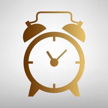 알람 시계 기호입니다. 골든 그래디언트 플랫 스타일 아이콘