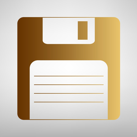Floppy disk sign. Flat style icon with golden gradient