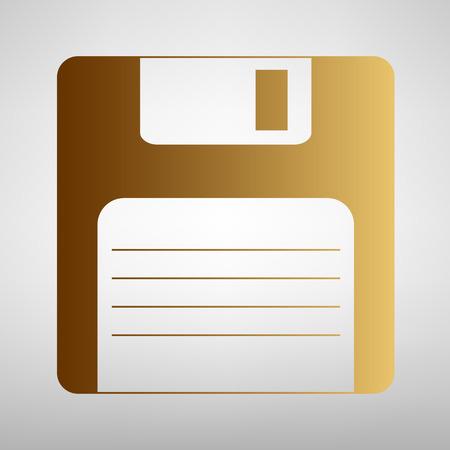Floppy disk teken. Vlakke stijl icoon met gouden gradiënt