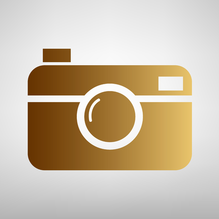 whim of fashion: Digital photo camera icon. Flat style icon with golden gradient Illustration