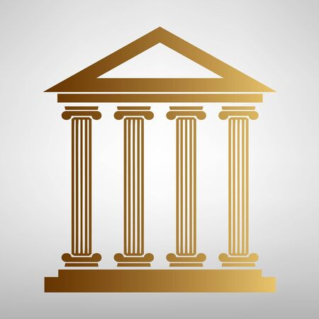 historical: Historical building. Flat style icon with golden gradient