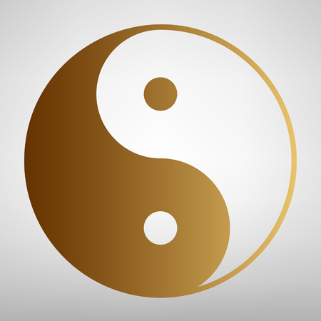 yang style: Ying yang symbol of harmony and balance. Flat style icon with golden gradient Illustration