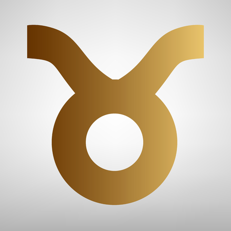 taurus sign: Taurus sign. Flat style icon with golden gradient