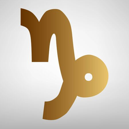 ecliptic: Capricorn sign. Flat style icon with golden gradient Illustration