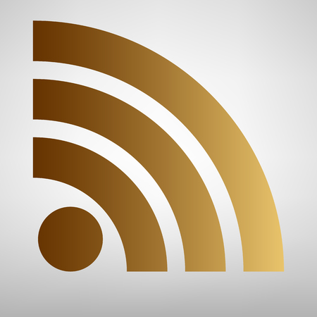 rss sign: RSS sign. Flat style icon with golden gradient