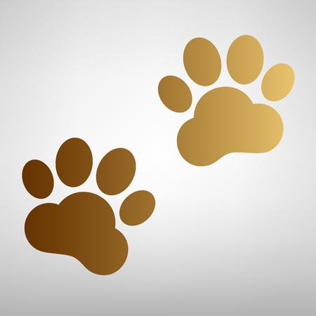 huellas de animales: Pistas animales firman. icono de estilo plana con gradiente de oro Vectores