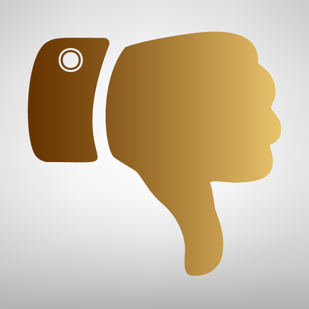disapprove: Hand sign. Flat style icon with golden gradient