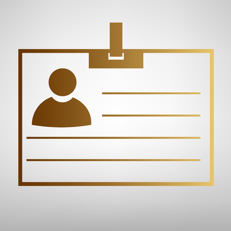 recognizing: Id card sign. Flat style icon with golden gradient