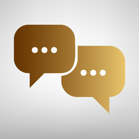 html5: Speech bubbles sign. Flat style icon with golden gradient Illustration