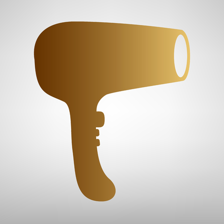 dry hair: Hair Dryer sign. Flat style icon with golden gradient Illustration
