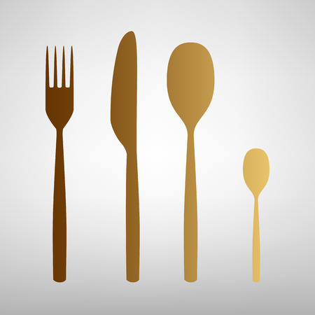 fork and spoon: Fork spoon and knife sign. Flat style icon with golden gradient