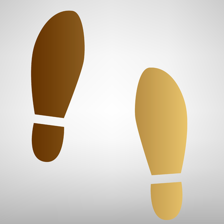 imprint: Imprint soles shoes sign. Flat style icon with golden gradient Illustration