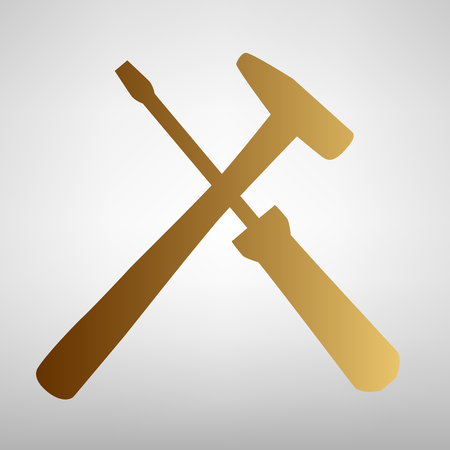 Tools sign. Flat style icon with golden gradient Çizim