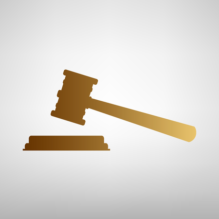 auctioneer: Justice hammer sign. Flat style icon with golden gradient Illustration