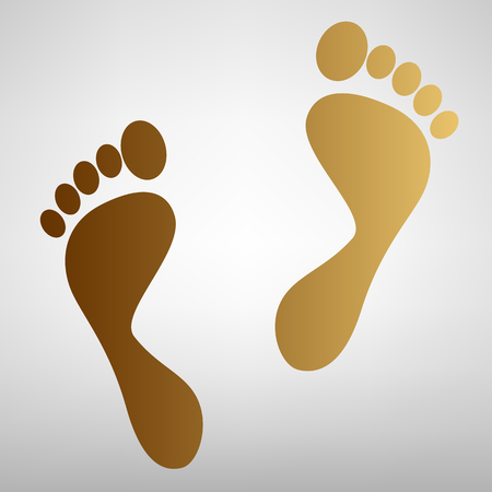 Foot prints sign. Flat style icon with golden gradient Stock Illustratie